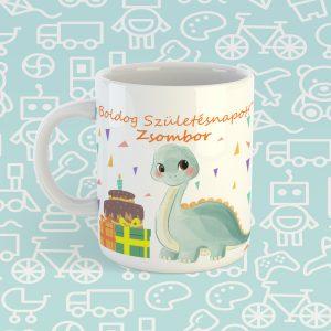 Boldog Születésnapot dinós bögre névvel