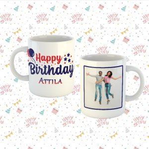 Happy Birthday Bögre Férfiaknak Névvel & képpel
