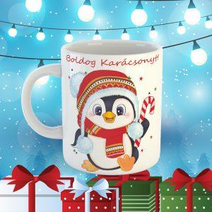 Cuki Karácsonyos Pingvines Bögre